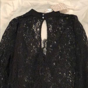 Free People Tops - FREE PEOPLE black lace tunic, never worn tags on